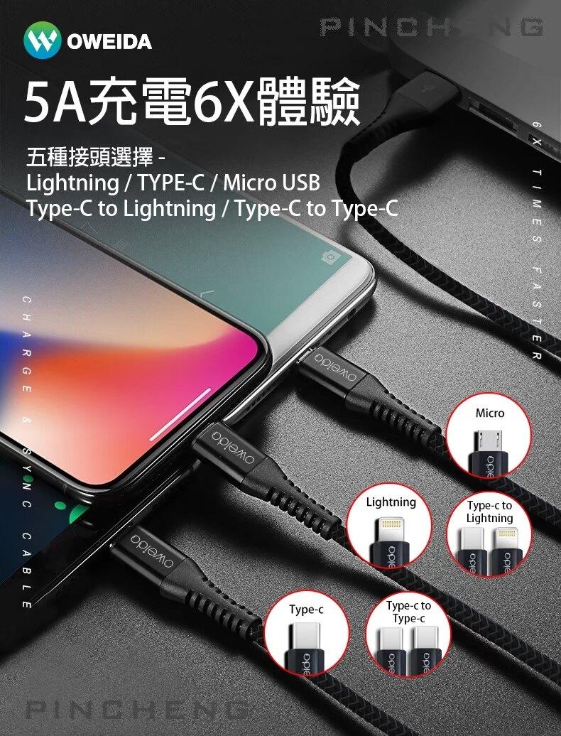 【oweida】1.5M編織漁網充電傳輸線(Lightning、Micro、Type-c)