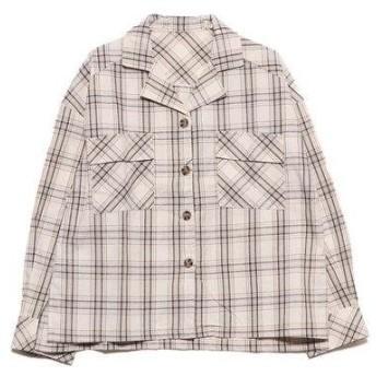 スタイルブロック STYLEBLOCK チェック柄オープンカラーサファリシャツ (アイボリー1)