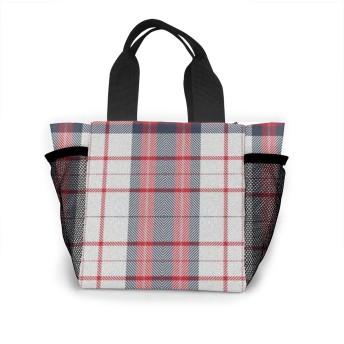 レッドブラックホワイトチェック柄 トートバッグ 買い物バッグ レディース おしゃれ バッグ ハンドバッグ エコバッグ 人気 ランチバッグ