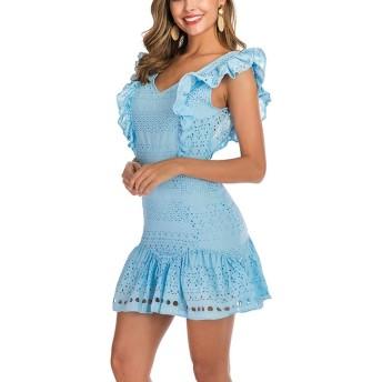 服装やアクセサリー ドレス CZ Vネック透かし彫りの木製耳無益なドレス(カラー:ホワイトサイズ:S) (色 : Baby Blue, サイズ : One Size)