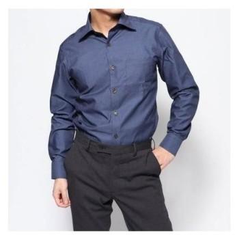 コムサイズム COMME CA ISM 《イージーケア・抗菌防臭加工》 デニムルックシャンブレー ワイドカラーシャツ (ブルー)