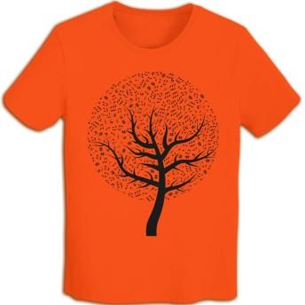 ラッキードア Tシャツ 半袖 木 上着 メンズ 夏服 Orange M