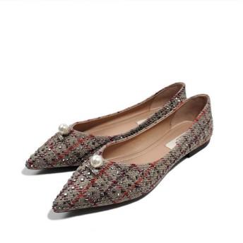 [XYJP] フラット パンプス レディース おおきいサイズ ポインテッドトゥ バレエシューズ Vカット 美脚 軽量 スリッポン 婦人靴 コンフォート 幅広 柔らかい 歩きやすい グレー おしゃれ オフィス お出かけ 24.5cm
