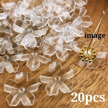 【brsr3766acrc】【約20個】clear flower beads