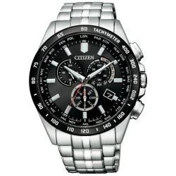 【CITIZEN 星辰】GENTS藍寶石電波對時黑錶面腕錶(CB5874-90E)