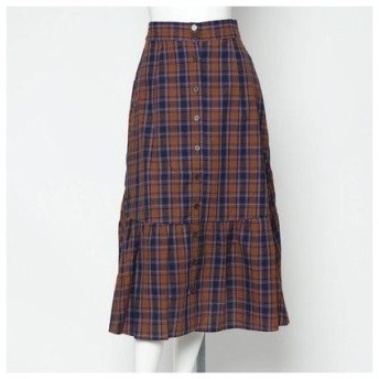 スタイルブロック STYLEBLOCK 先染めチェックロングスカート (ブラウン)