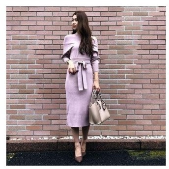 リエンダ rienda Layered style Knit OP (ライトピンク)