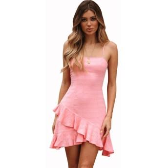 服装やアクセサリー ドレス CZバンドーストラップフリルオープンバック一時Enclothe (色 : ピンク, サイズ : M)