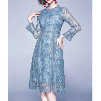 服装やアクセサリー ドレス CZレースの気質Aphrodisiacalドレス(色:ブルーサイズ:S) (色 : 青, サイズ : One Size)