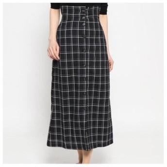 スタイルブロック STYLEBLOCK 先染めウィンドウペンチェックフロント釦スカート (ブラック)