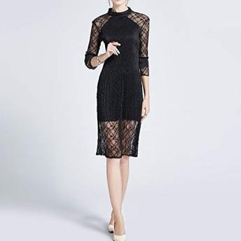 服装やアクセサリー ドレス CZファッションシンプルな中空ウエストゴムプリーツ衣服(カラー:ブラックサイズ:ワンサイズ) (色 : ブラック, サイズ : One Size)