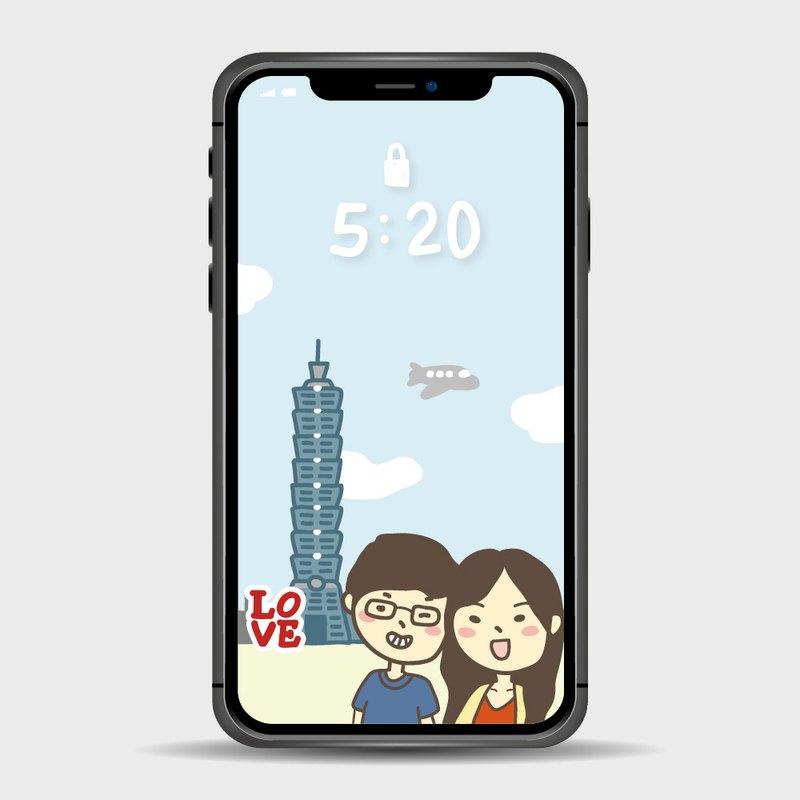 新登場 地標新品客製化手繪Q版手機桌布 台北101