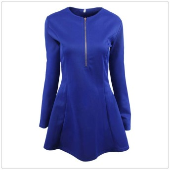 Zhengpingpai ジッパーウエストロングスリーブ、大きなスイングドレスセクシーなスリム新郎 (Color : Blue, Size : M)