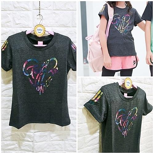 棒棒糖童裝(B101014)夏女大童運動款彩色線條黑灰色上衣 120-165