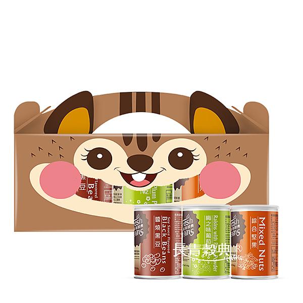 「長青穀典」松鼠 罐裝3入禮盒 (D)
