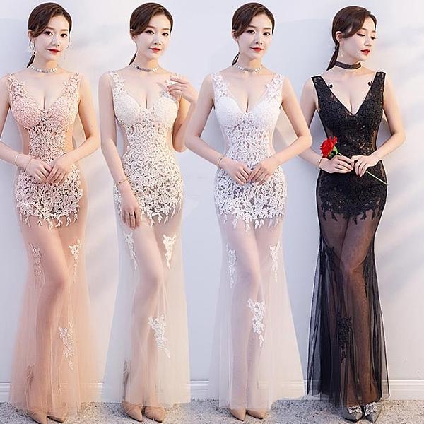 透視禮服 洋裝 性感晚禮服夜店KTV透視顯瘦工作服長裙