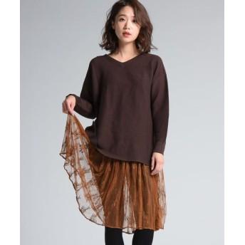 MAYSON GREY/メイソングレイ 【socolla】レーススカートセットニットチュニック ブラウン S