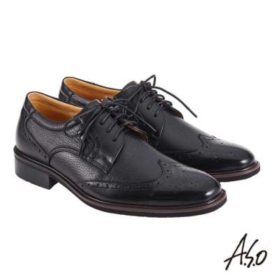 A.S.O 阿瘦 職場通勤 萬步健康鞋 異材質搭配紳士鞋 黑 10012000446-99