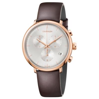 Calvin Klein 卡文克萊 紳士簡約計時皮帶腕錶 K8M276G6 43mm