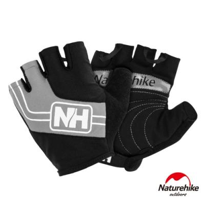 Naturehike 脫環加厚耐磨戶外運動騎行半指手套 灰色