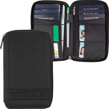 TRAVELON 簡約拉鍊防盜證件護照夾(黑)
