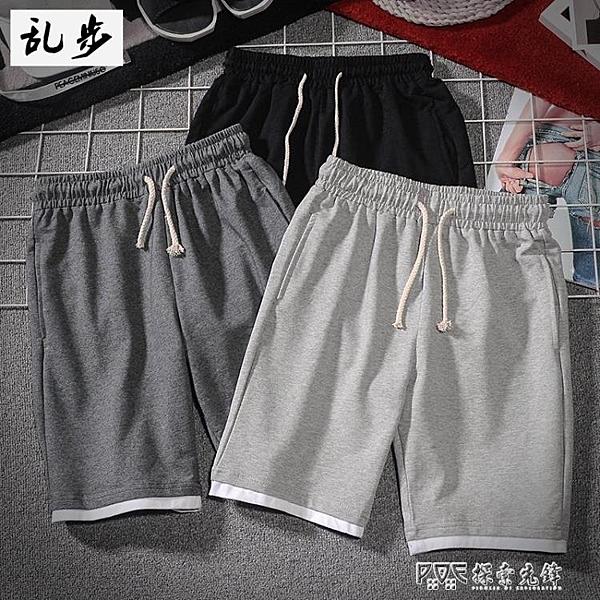 休閒運動短褲男士夏季新款純色彈力假兩件五分褲加肥加大碼胖子裝 探索先鋒
