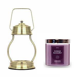 (組)EPOCHSIA x Pray 守夜人金屬香氛蠟燭暖燈(L)-復古金+檸檬