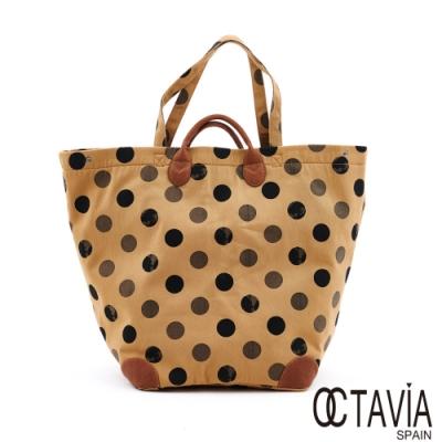 OCTAVIA8 - 點點點 帆布配皮購物專用超大托特包 - 打包棕
