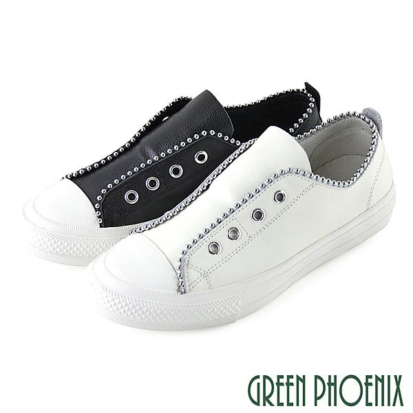 GREEN PHOENIX 波兒德 時髦釘珠彈性鬆緊帶義大利山羊皮平底休閒鞋 U28-2F102