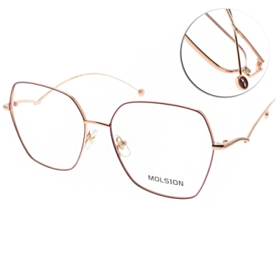 MOLSION 陌森 光學眼鏡 多邊細框款 紫 玫瑰金 MJ7108 B31