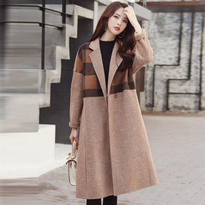 衣貝拉【28847】 秋冬時尚拼接格紋加厚中長版毛呢外套 西裝外套 《M / L》