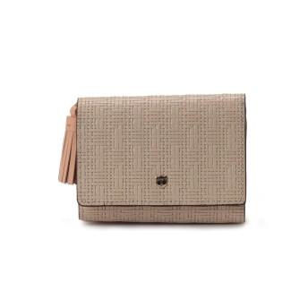 TOPKAPI メッシュ柄型押し・三つ折り財布 RITMO[リトモ] 財布,オフ