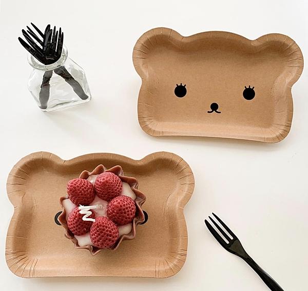 獨立包裝 小熊蛋糕盤叉組 5叉子5盤子一包 叉子盤叉組【W034】紙盤免洗盤蛋糕紙盤生日蛋糕