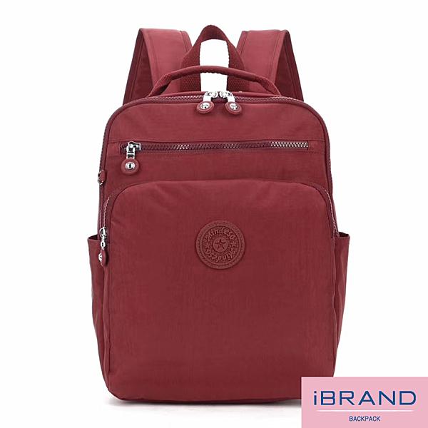 iBrand後背包 輕盈防潑水素色雙拉鍊尼龍後背包-深棗紅 MDS-8612