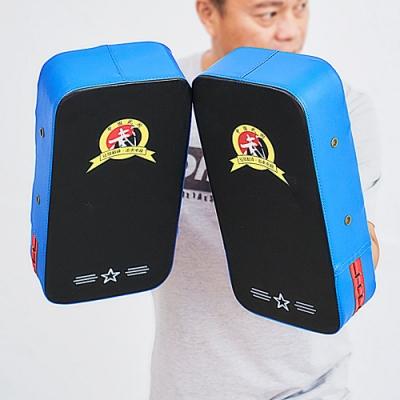 輝武嚴選-技擊散打泰拳專用配件-PU皮製拳擊兩用腳靶/拳靶-藍(一入)