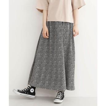 メルロー merlot レオパード柄ポプリンギャザーマキシスカート (ブラック)