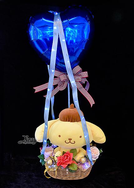 11吋坐姿布丁狗幸福熱氣球,金莎花束/情人節禮物/婚禮佈置/派對慶生/求婚,節慶王【Y067368】