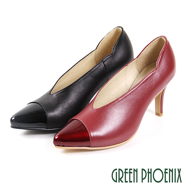 GREEN PHOENIX 波兒德 漆皮拼接剪裁全真皮尖頭高跟鞋 U33-21961