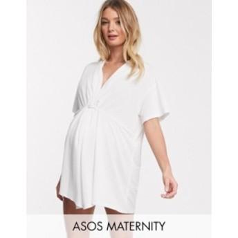 エイソス レディース ワンピース トップス ASOS DESIGN maternity jersey textured twist front beach cover up in white White