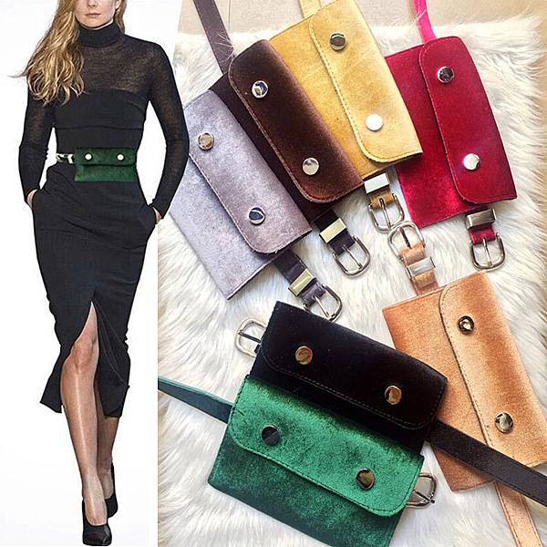 皮帶包新款韓版女式腰包金絲絨百搭時尚錢包細腰帶兩用皮帶裝手機鑰匙包 麗人印象 全館免運