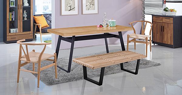 【IS空間美學】拉亞 5 尺栓木本色餐桌(2018-Q-425-1)