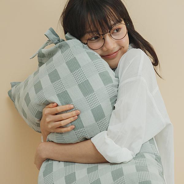 長絨棉 韓式綁帶枕套2入【酪梨綠】色織雙層紗 自由混搭 翔仔居家