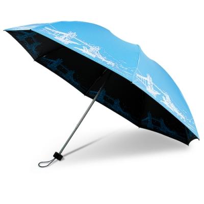 【雙龍牌】倫敦鐵橋鈦灰無敵反向折傘 黑膠晴雨傘B6610C-湖水藍