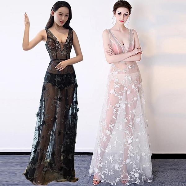 透視禮服 洋裝 2020新款顯瘦長款晚禮服連身裙長裙