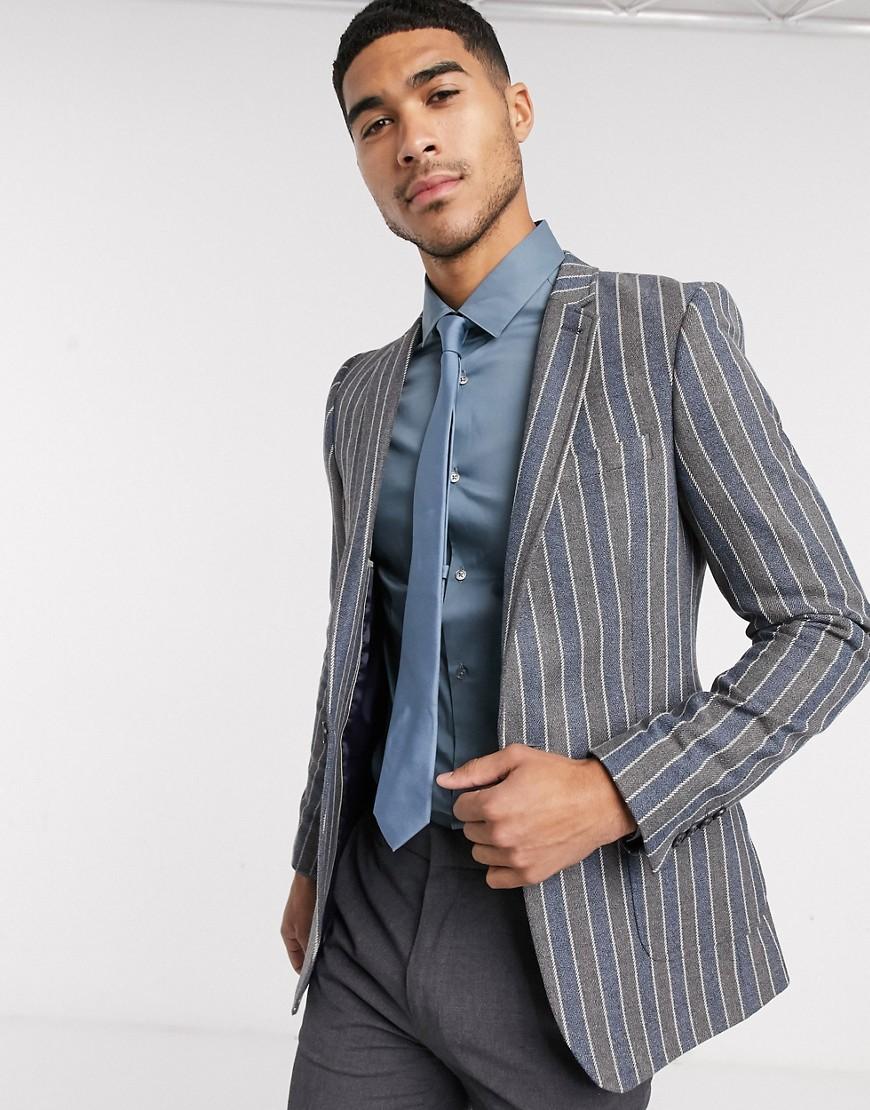 ASOS DESIGN super skinny blazer in navy and grey stripe