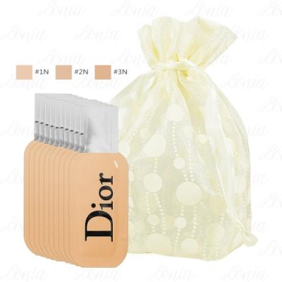 Dior迪奧 專業後台雙用水粉底試用品(1ml)*10旅行袋組