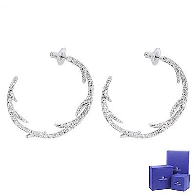 SWAROVSKI 施華洛世奇 Polar Bestiary璀璨水晶冬季鹿角造型銀色耳環