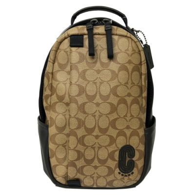 COACH 字母C男款雙層單肩背包/斜背包/胸前包(C LOGO-焦糖)