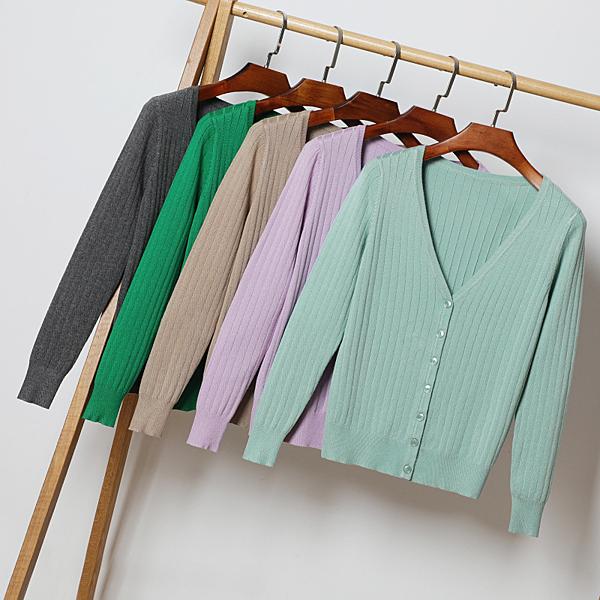 +X0105# 韓版上衣外搭長袖針織衫開衫毛衣女裝春秋季短款薄款外套 &小咪的店&