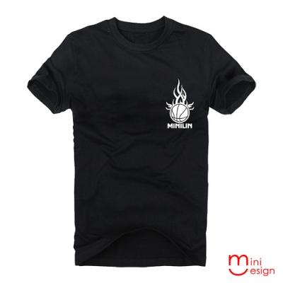 (男款)MINILIN黑火籃球潮流設計短T 三色-Minidesign